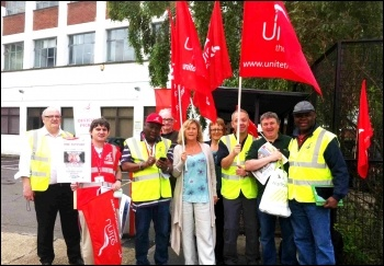 Unite members in action: Strike at 'One Housing', June 2013, Woodgreen site, London