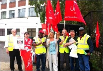 Unite members in action: Strike at 'One Housing', June 2013, Woodgreen site, London