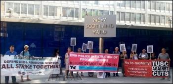 Protest outside Scotland Yard, 9.7.13, photo N Caffferky