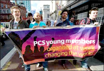 PCS Young members network lobby the TUC, photo by Paul Mattsson