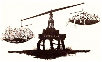 Piper-Alpha disaster - cartoon by Alan Hardman