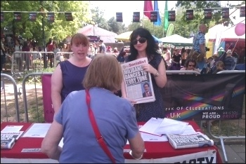Socialist Party stall at Bristol Pride, 13.7.13