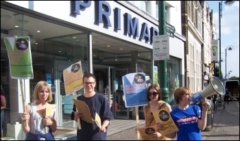 Sick of Your Boss week of action targetting Primark - protest in Leytonstone, photo by Nancy Taaffe