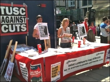 Socialist Party stall at the Monument, 18.7.13, photo J Beishon