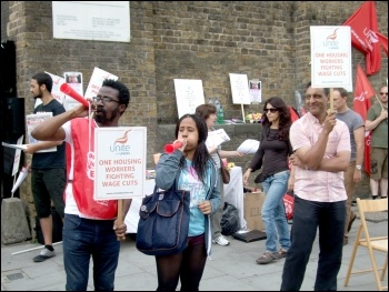 One Housing Group workers, members of Unite, on a second three-day strike against massive pay cuts, photo Naomi Byron