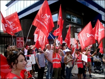 One Housing Group workers, members of Unite, on their second three-day strike against massive pay cuts, photo Naomi Byron