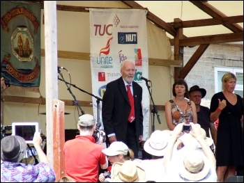 Tony Benn speaking, Tolpuddle festival July 2013, photo Matt Carey