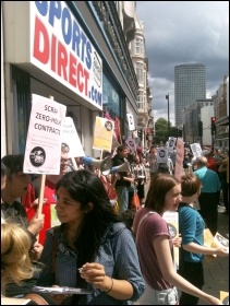 Youth Fight for Jobs protesting outside Sports Direct, photo Ian Pattison