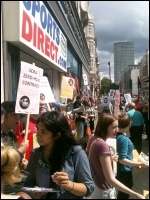 Youth Fight for Jobs protesting outside Sports Direct against zero-hour contracts on 3 August 2013, photo Ian Pattison