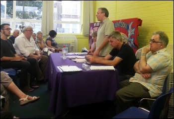 Waltham Forest Unison Health branch joint secretary Len Hockey chaired the meeting, photo Neil Cafferky