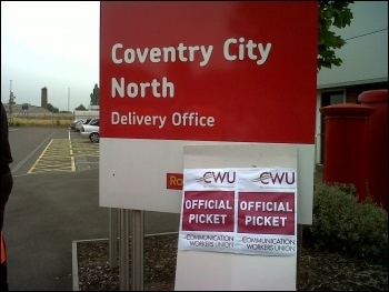 Strike action at Royal Mail's Coventry North Delivery Office 27.8.13