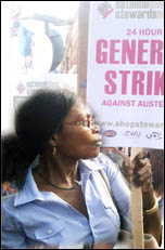 Plans for a 24-hour general strike to stop cuts must be brought to the top of the agenda of all trade unions. , photo Arti