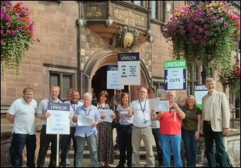 Coventry Unison members protesting against job losses of wardens, 28.8.13