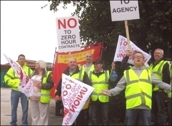 Wigan Hovis workers on strike, 28.8.13, photo by Hugh Caffrey