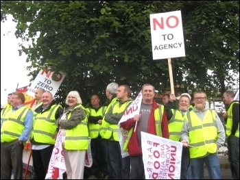 Wigan Hovis bakers on seven-day strike against massive pay cuts and casualisation, photo Hugh Caffrey