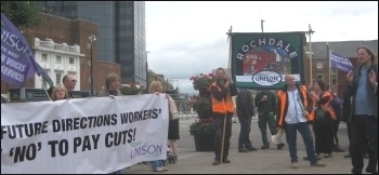 Future Directions strike, Rochdale (Unison rep John Morrison with megaphone), photo by Hugh Caffrey