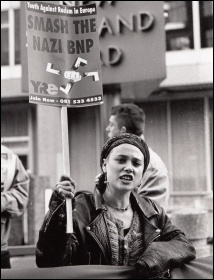 Youth Against Racism in Europe (YRE) protests outside Scotland Yard, photo Richard Newton