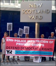 Youth Against Racism in Europe protesting outside Scotland Yard, 9.7.13