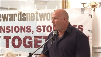 Bob Crow speaking, NSSN rally, before the NSSN lobby of TUC, 8.9.13, photo by P Mason