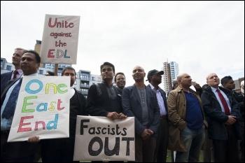 Anti-EDL demo, East London, 7.9.13, photo by Paul Mattsson