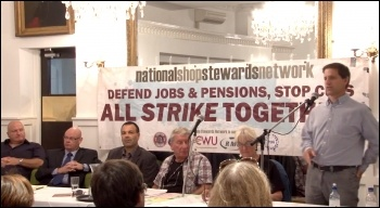 Martin Powell-Davies addresses the NSSN lobby of TUC congress 2013, photo  Socialist Party