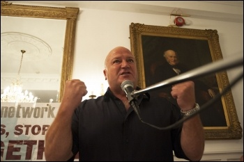 Bob Crow, RMT, speaking at the NSSN lobby of the TUC congress 2013, photo by Paul Mattsson