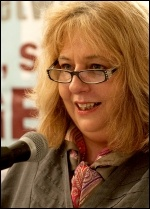 Janice Godrich, President of PCS. addresses NSSN lobby of TUC congress 2013, photo Paul Mattsson
