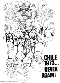 Chile 1973 - Never Again! Cartoon by Alan Hardman, photo Alan Hardman