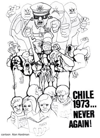 Chile 1973 - Never Again! Cartoon by Alan Hardman