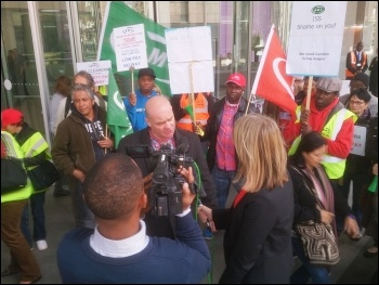 ISS cleaners' strike: Steve Hedley being interviewed by ITN, 16.9.13, photo Chris Newby