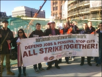ISS cleaners' strike: Kings Cross protest, 16.9.13, photo Chris Newby