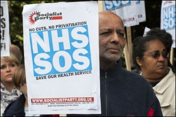 Lively demo against cuts Whipps Cross Hospital, photo Paul Mattsson