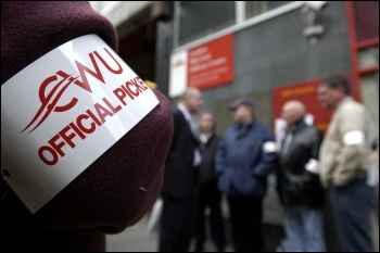 CWU official picket armband, photo by Paul Mattsson