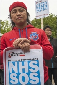Demonstrating against NHS cuts at Whipps Cross hospital, photo Paul Mattsson