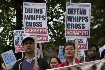 Demonstration against NHS cuts at Whipps Cross hospital, East London, photo Paul Mattsson