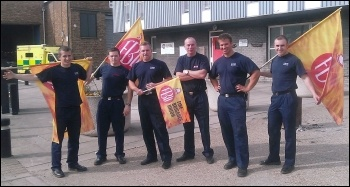 On the Silvertown picket, which received support from ambulance workers based next door
