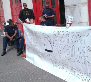 On the Plaistow station picket, photo Bob Severn