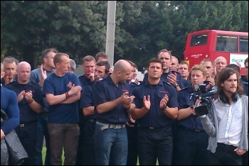 Surrey firefighters at the Kingston rally, photo Ginny Eaton