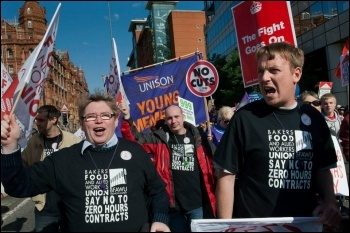 Bakers union workers at a TUC demonstration in Manchester, photo Paul Mattsson