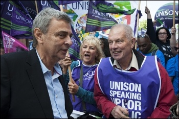 Dave Prentis at TUC demo in Manchester: 50,000 marched against the Tories, demanding action on NHS, photo Paul Mattsson