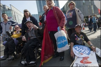 Disabled activists campaigning against cuts, photo Paul Mattsson