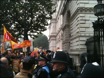 Outside Downing Street, FBU demo, 16.10.13, photo by Ian Pattison