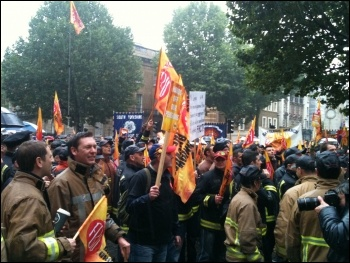 FBU demo, London 16.10.13, photo by Ian Pattison
