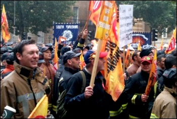 Firefighters national strike and demo London 16.10.13 , photo Ian Pattison