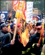 Firefighters national strike and demonstration 16/10/13, photo Ian Pattison