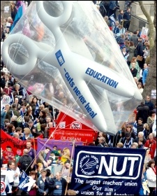 NUT on the 26 March 2011 TUC demonstration against the government's austerity programme , photo Suzanne Beishon