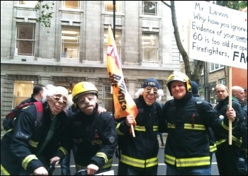 FBU demo, London, 'We can't retire later!' 16.10.13