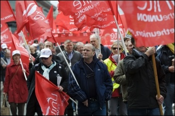 Jobs demo in Birmingham called by the Unite trade union , photo Paul Mattsson