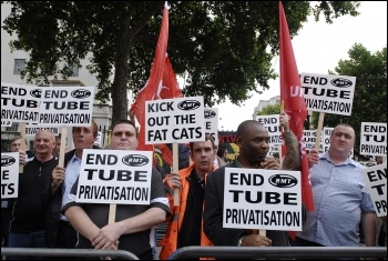 RMT lobby against privatisation on the railways, photo Paul Mattsson
