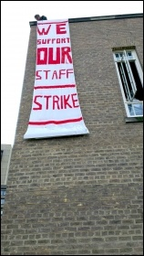 Socialist Student members did a banner drop in support of striking staff at Leicester university 31 October 2013, photo by Leicester Socialist Students